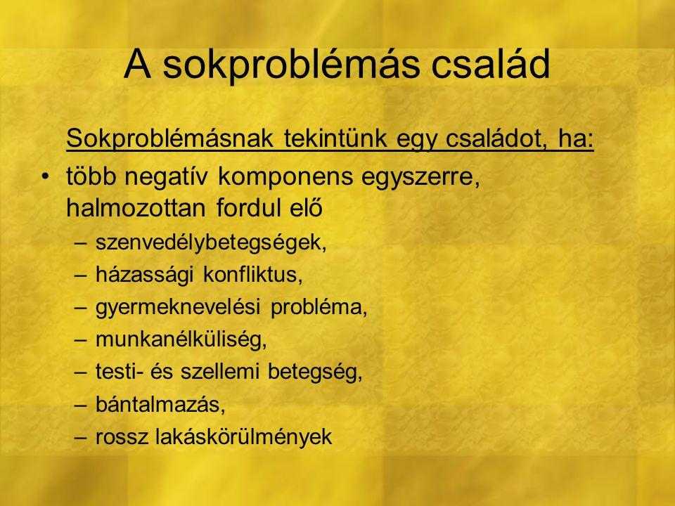 A sokproblémás család Sokproblémásnak tekintünk egy családot, ha: több negatív komponens egyszerre, halmozottan fordul elő –szenvedélybetegségek, –ház