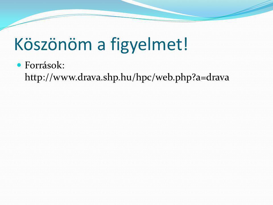 Köszönöm a figyelmet! Források: http://www.drava.shp.hu/hpc/web.php?a=drava