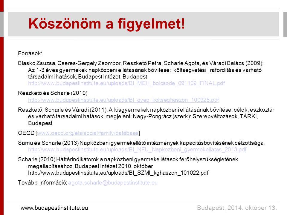 Köszönöm a figyelmet! www.budapestinstitute.eu Budapest, 2014. október 13. Források: Blaskó Zsuzsa, Cseres-Gergely Zsombor, Reszkető Petra, Scharle Ág