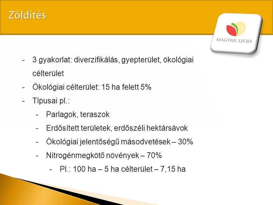 -3 gyakorlat: diverzifikálás, gyepterület, ökológiai célterület -Ökológiai célterület: 15 ha felett 5% -Típusai pl.: -Parlagok, teraszok -Erdősített t