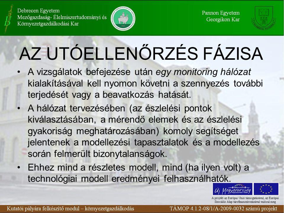 AZ UTÓELLENŐRZÉS FÁZISA A vizsgálatok befejezése után egy monitoring hálózat kialakításával kell nyomon követni a szennyezés további terjedését vagy a beavatkozás hatását.
