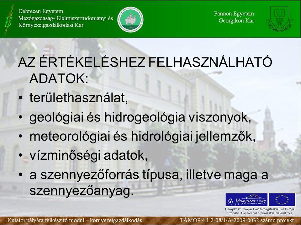 AZ ÉRTÉKELÉSHEZ FELHASZNÁLHATÓ ADATOK: területhasználat, geológiai és hidrogeológia viszonyok, meteorológiai és hidrológiai jellemzők, vízminőségi adatok, a szennyezőforrás típusa, illetve maga a szennyezőanyag.