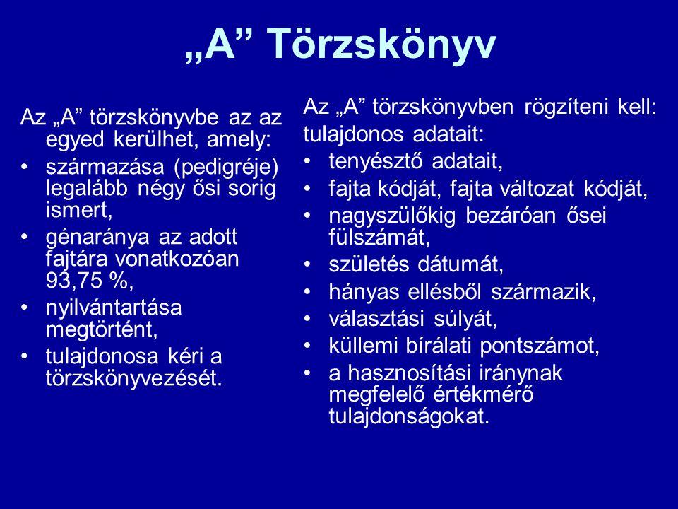 """""""A"""" Törzskönyv Az """"A"""" törzskönyvbe az az egyed kerülhet, amely: származása (pedigréje) legalább négy ősi sorig ismert, génaránya az adott fajtára vona"""