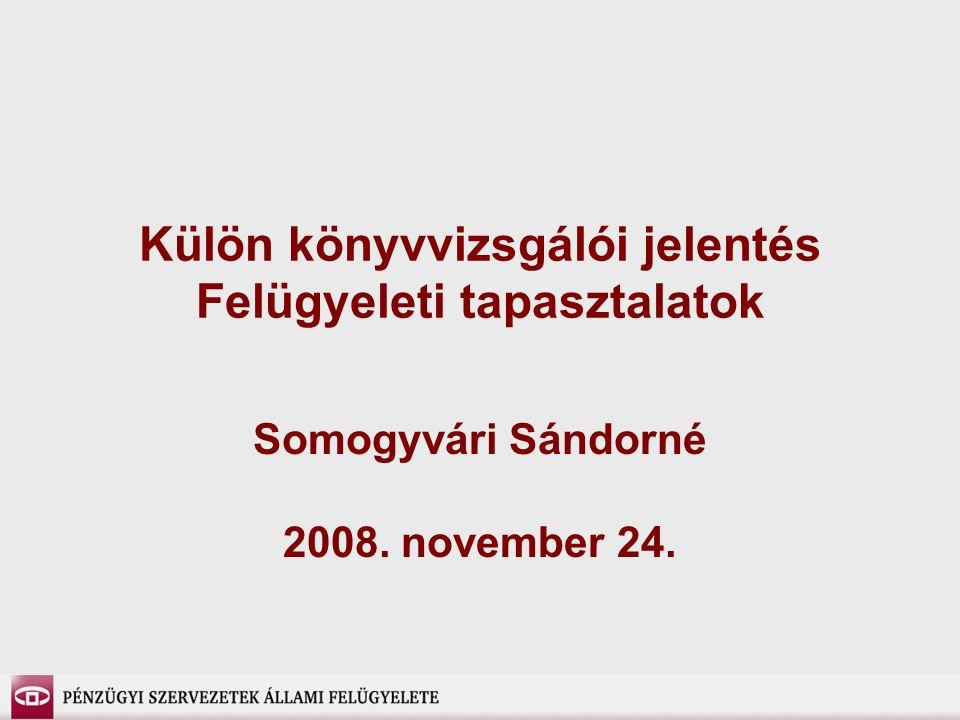 Külön könyvvizsgálói jelentés Felügyeleti tapasztalatok Somogyvári Sándorné 2008. november 24.