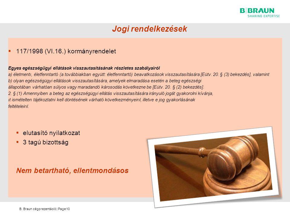 B. Braun cégprezentáció   Page Jogi rendelkezések  117/1998 (VI.16.) kormányrendelet Egyes egészségügyi ellátások visszautasításának részletes szabál