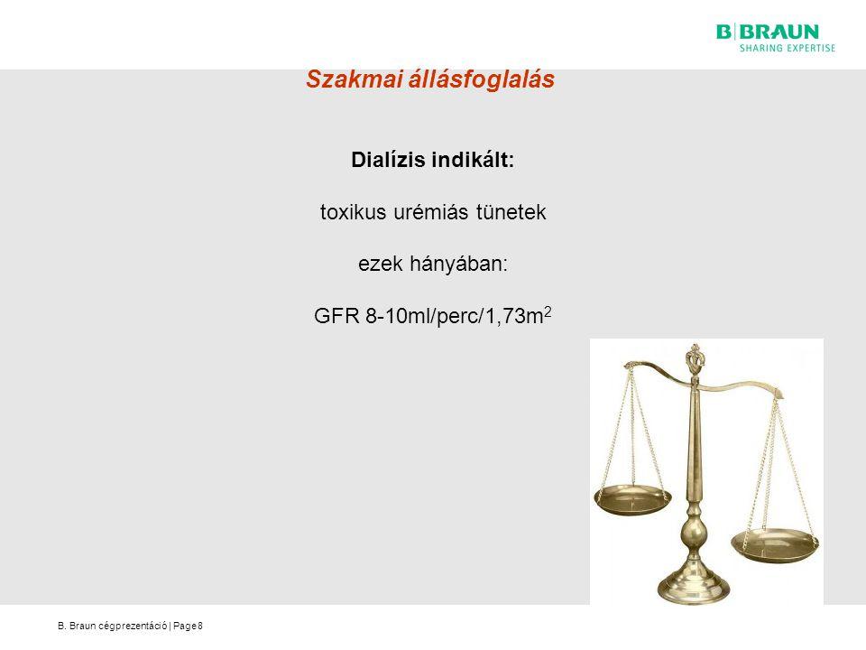 B. Braun cégprezentáció   Page Szakmai állásfoglalás Dialízis indikált: toxikus urémiás tünetek ezek hányában: GFR 8-10ml/perc/1,73m 2 8