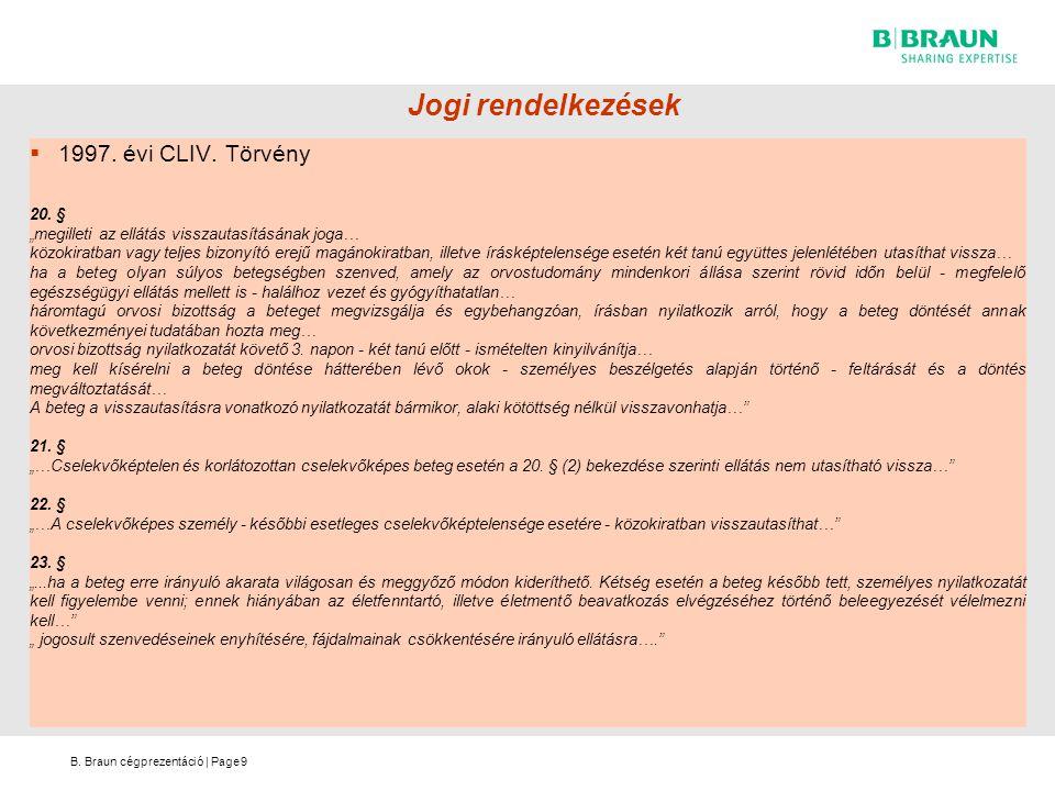 B.Braun cégprezentáció | Page Jogi rendelkezések  1997.