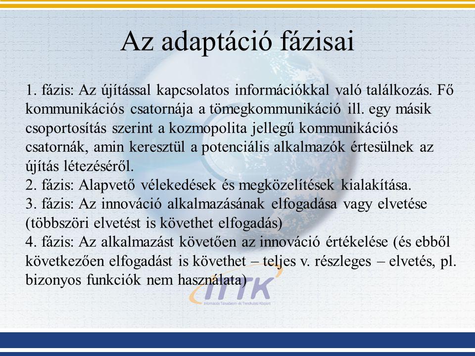 Az adaptáció fázisai 1. fázis: Az újítással kapcsolatos információkkal való találkozás.
