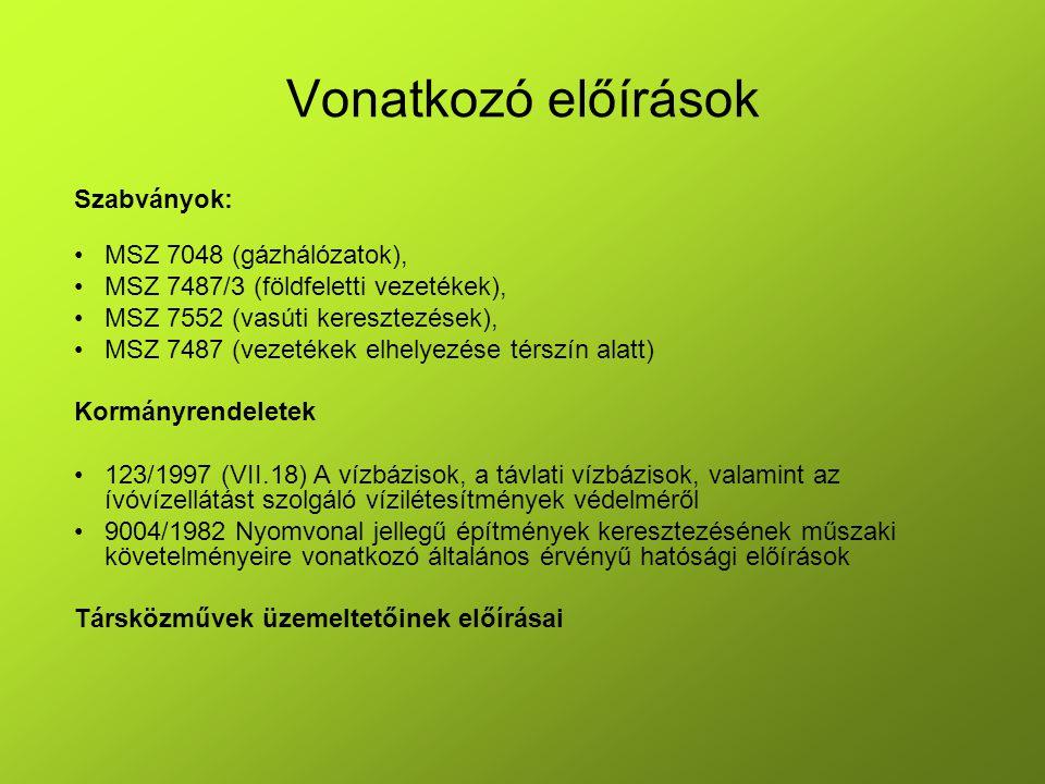 Vonatkozó előírások Szabványok: MSZ 7048 (gázhálózatok), MSZ 7487/3 (földfeletti vezetékek), MSZ 7552 (vasúti keresztezések), MSZ 7487 (vezetékek elhe