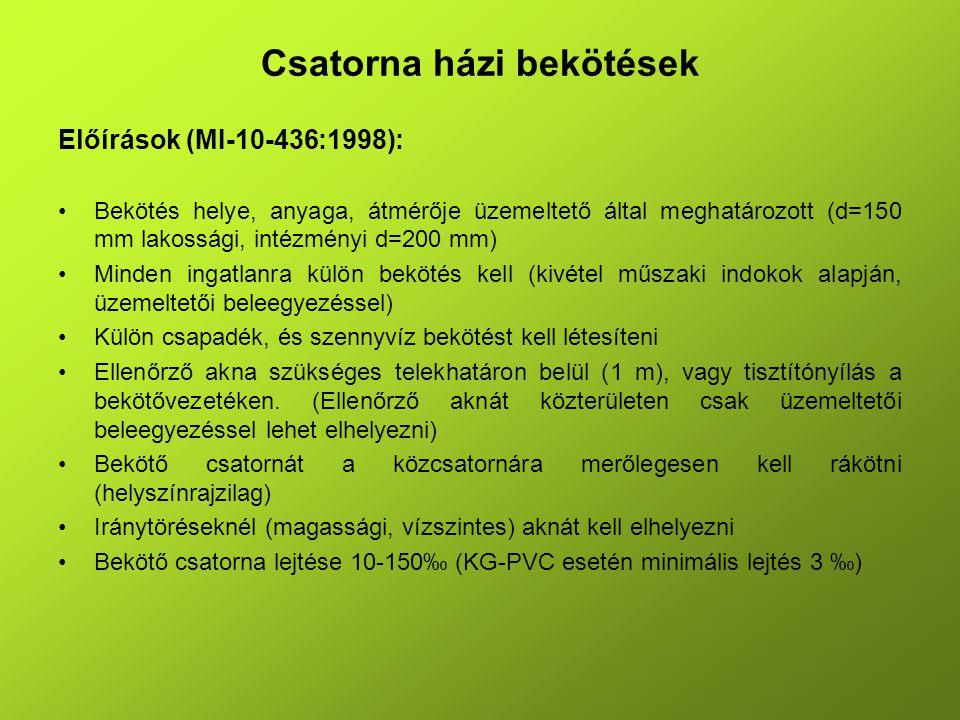 Csatorna házi bekötések Előírások (MI-10-436:1998): Bekötés helye, anyaga, átmérője üzemeltető által meghatározott (d=150 mm lakossági, intézményi d=2