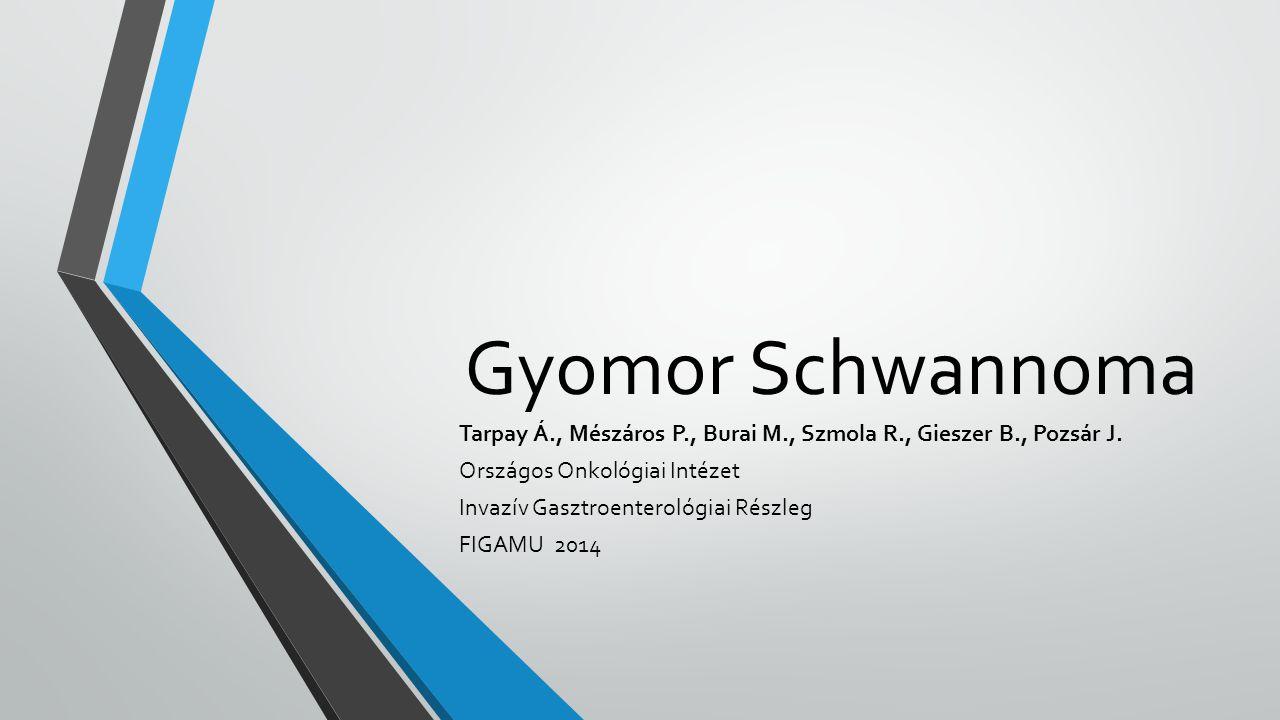 Bevezetés GI traktus mesenchymalis tumorai (orsósejtes daganatok): GIST, leiomyoma, leiomyosarcoma, Schwannoma GIST a leggyakoribb, leggyakrabban a gyomorban (60-70%) 1, 10-30%-ban metasztatizáló tulajdonság Schwannoma: lassan növekvő, aszimptomatikus, ritka, gyomor tumorok 0,2% 2 -a, jó prognózis 3 Tekintettel a két merőben különböző prognózisra, differenciáldiagnózisuk igen fontos 1.