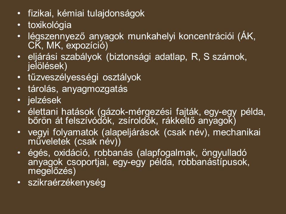 fizikai, kémiai tulajdonságok toxikológia légszennyező anyagok munkahelyi koncentrációi (ÁK, CK, MK, expozíció) eljárási szabályok (biztonsági adatlap