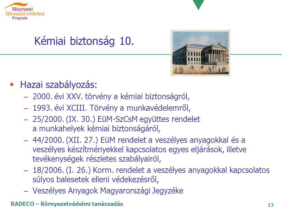 RADECO – Környezetvédelmi tanácsadás 13 Kémiai biztonság 10.  Hazai szabályozás: – 2000. évi XXV. törvény a kémiai biztonságról, – 1993. évi XCIII. T