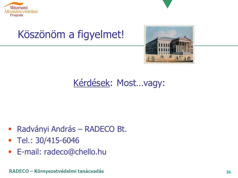 RADECO – Környezetvédelmi tanácsadás 36 Köszönöm a figyelmet! Kérdések: Most…vagy:  Radványi András – RADECO Bt.  Tel.: 30/415-6046  E-mail: radeco