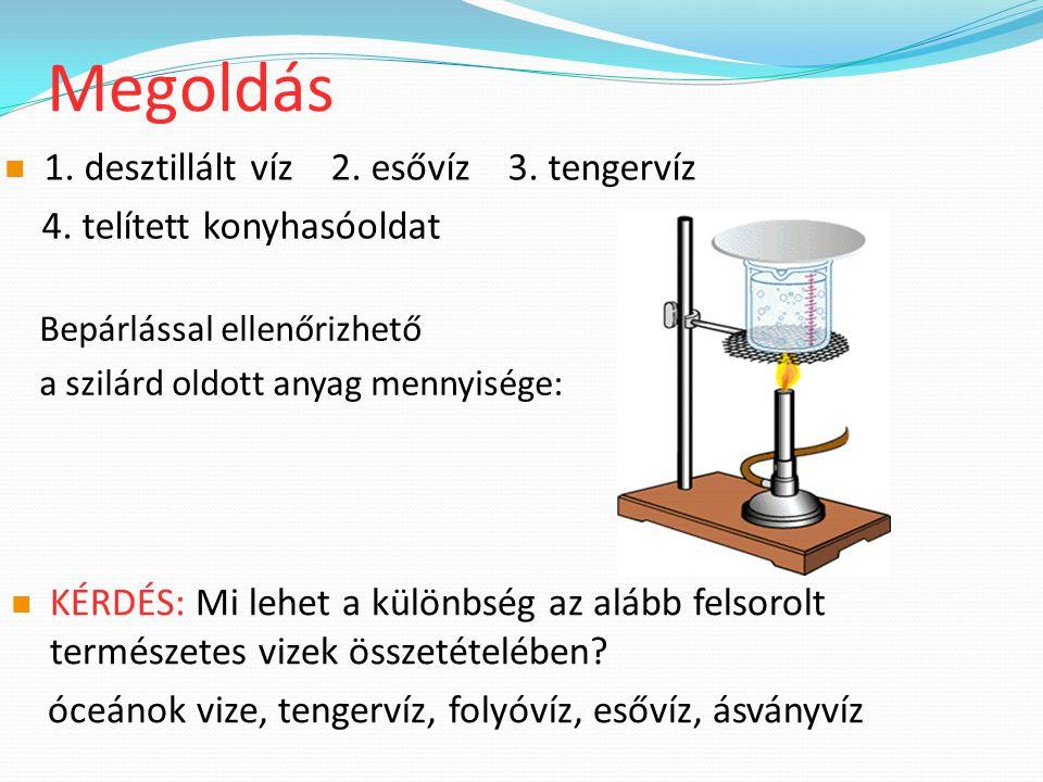 Megoldás Bepárlással ellenőrizhető a szilárd oldott anyag mennyisége: 1.