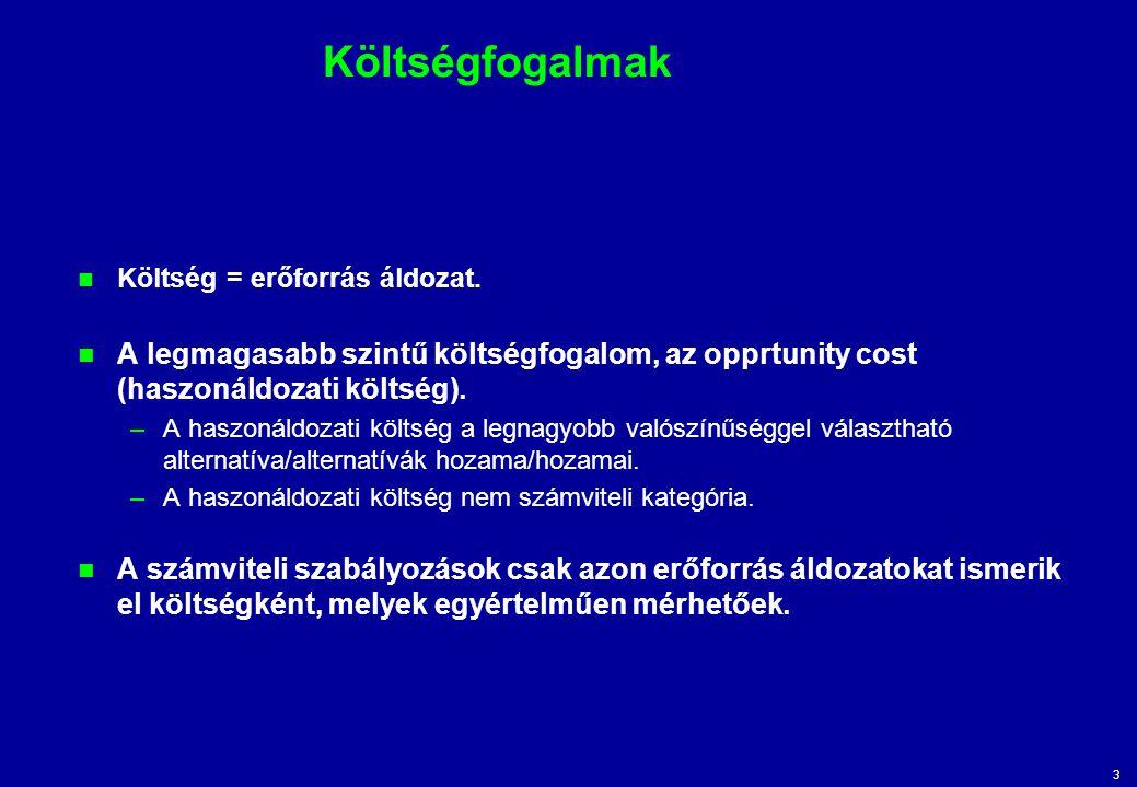 3 Költségfogalmak Költség = erőforrás áldozat. A legmagasabb szintű költségfogalom, az opprtunity cost (haszonáldozati költség). –A haszonáldozati köl