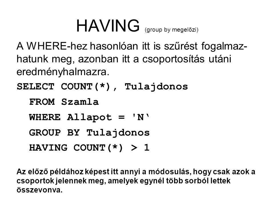 HAVING (group by megelőzi) A WHERE-hez hasonlóan itt is szűrést fogalmaz- hatunk meg, azonban itt a csoportosítás utáni eredményhalmazra.
