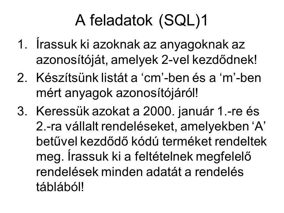 A feladatok (SQL)1 1.Írassuk ki azoknak az anyagoknak az azonosítóját, amelyek 2-vel kezdődnek.