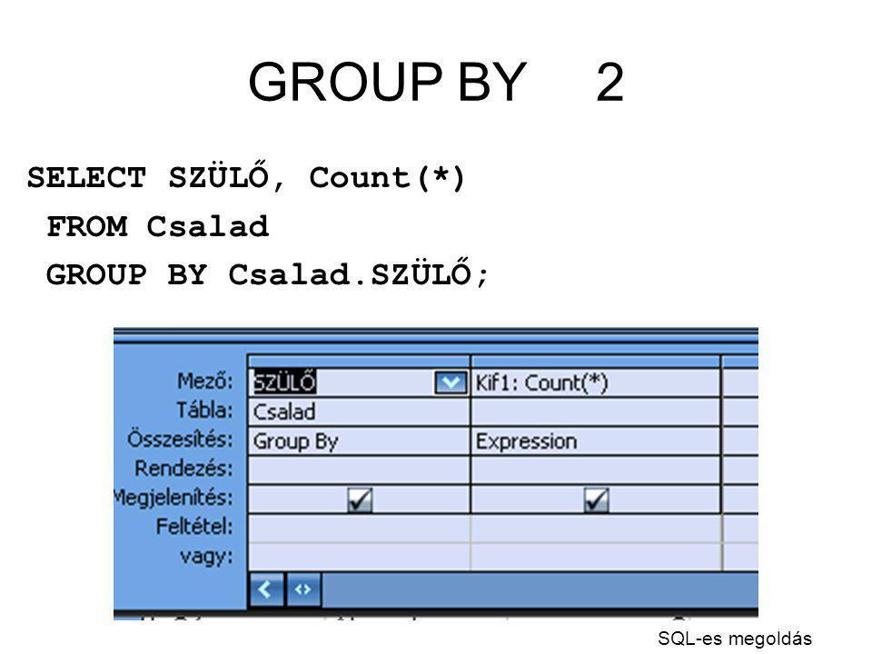 GROUP BY2 SELECT SZÜLŐ, Count(*) FROM Csalad GROUP BY Csalad.SZÜLŐ; SQL-es megoldás