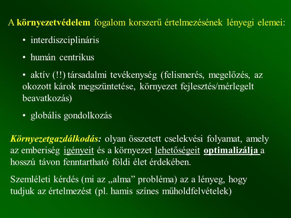 A környezetvédelem fogalom korszerű értelmezésének lényegi elemei: interdiszciplináris humán centrikus aktív (!!) társadalmi tevékenység (felismerés,