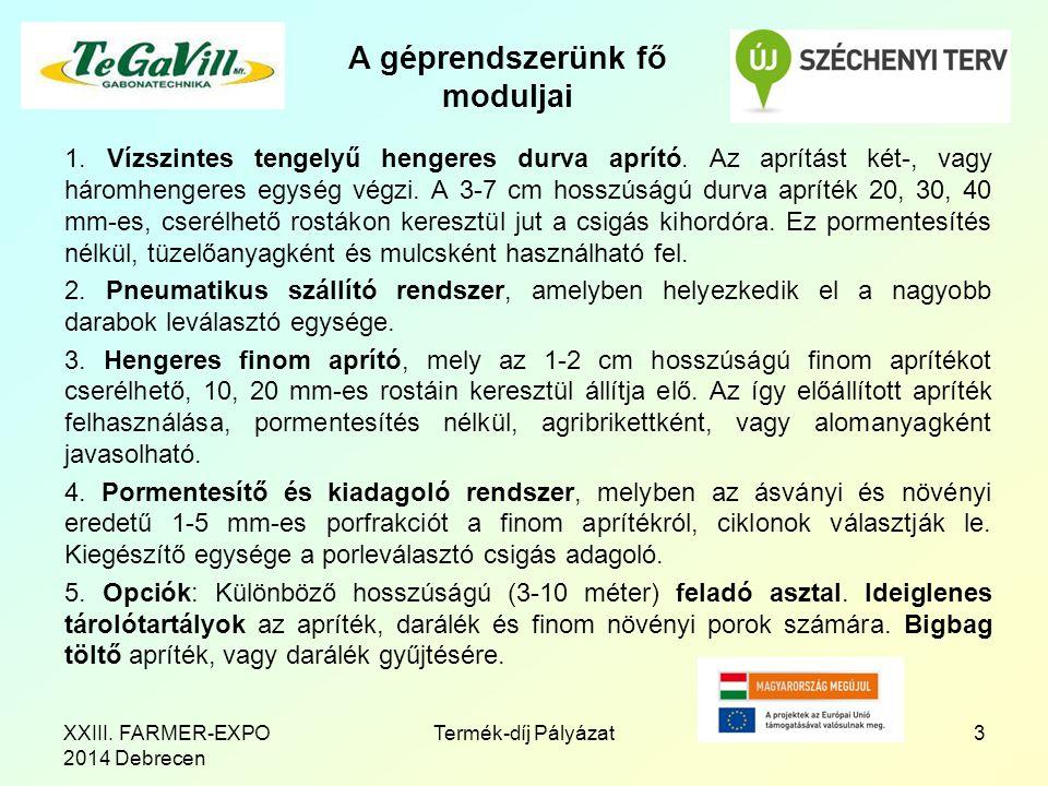 Az elnyert Díj 4Termék-díj PályázatXXIII. FARMER-EXPO 2014 Debrecen