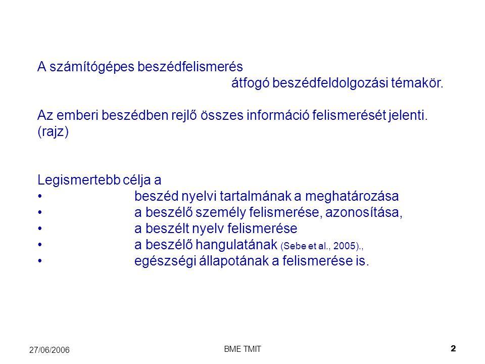 BME TMIT2 27/06/2006 A számítógépes beszédfelismerés átfogó beszédfeldolgozási témakör.