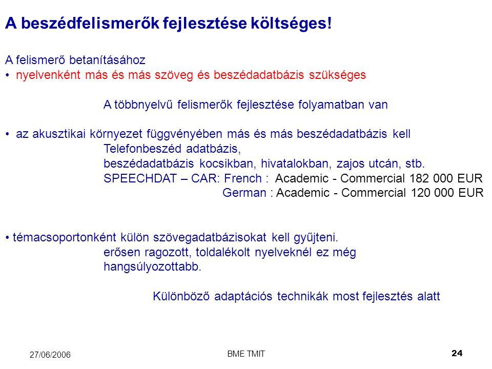 BME TMIT24 27/06/2006 A beszédfelismerők fejlesztése költséges.