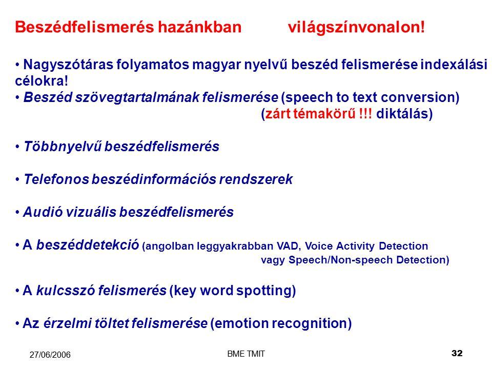 BME TMIT32 27/06/2006 BME TMIT 32 27/06/2006 Beszédfelismerés hazánkban világszínvonalon.