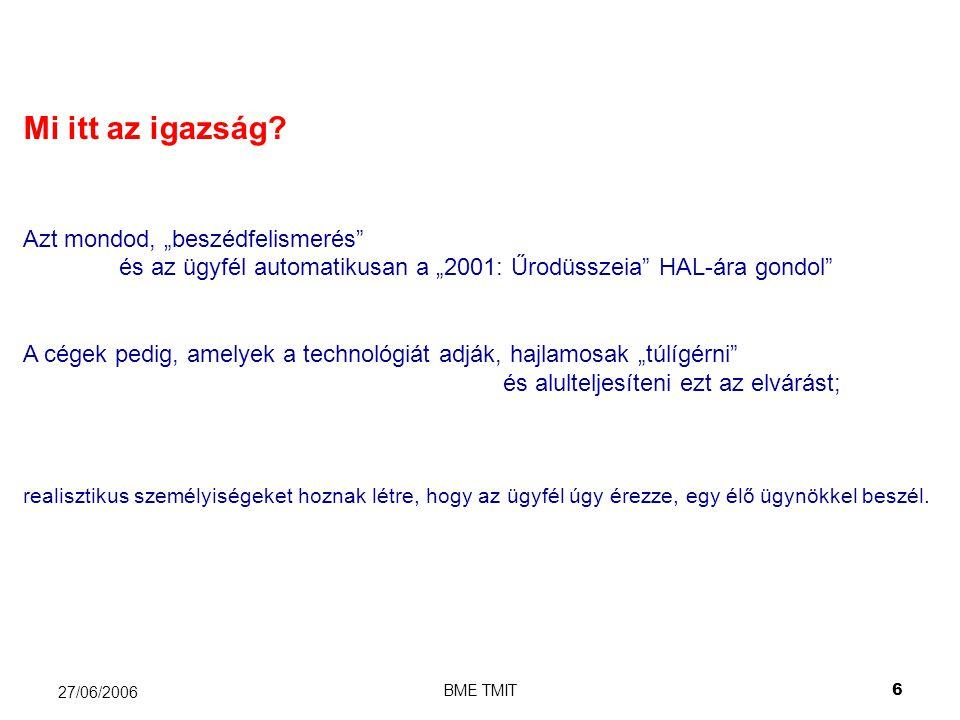 BME TMIT7 27/06/2006 Miért vacakolunk egyáltalán a beszéd használatával.