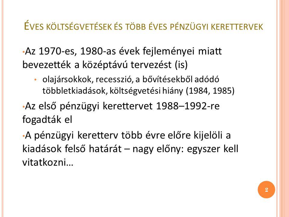 É VES KÖLTSÉGVETÉSEK ÉS TÖBB ÉVES PÉNZÜGYI KERETTERVEK Az 1970-es, 1980-as évek fejleményei miatt bevezették a középtávú tervezést (is) olajársokkok, recesszió, a bővítésekből adódó többletkiadások, költségvetési hiány (1984, 1985) Az első pénzügyi kerettervet 1988–1992-re fogadták el A pénzügyi keretterv több évre előre kijelöli a kiadások felső határát – nagy előny: egyszer kell vitatkozni… 2