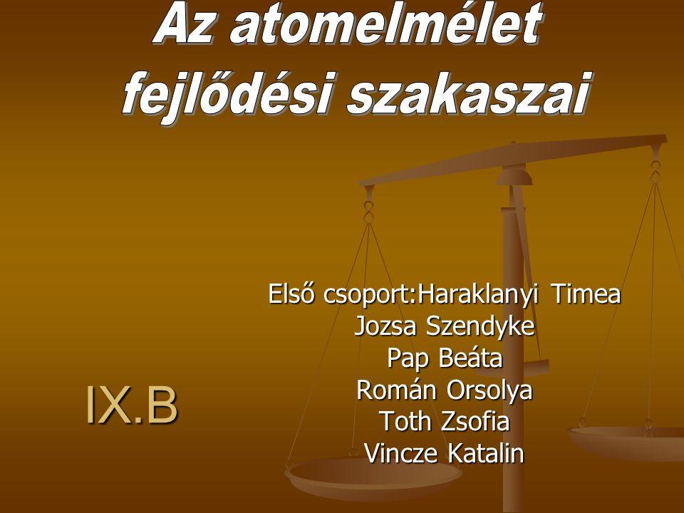 """Kr.e.V század Leükipposz és Demokritosz görög filozófus úgy gondolták,hogy az anyag oszthatatlan részecskékből áll amalyeket """"atomok''-nak neveztek Kr.e.384-322 Arisztotelesz görög filozófus elveti az atomok letezesenek elméletét."""