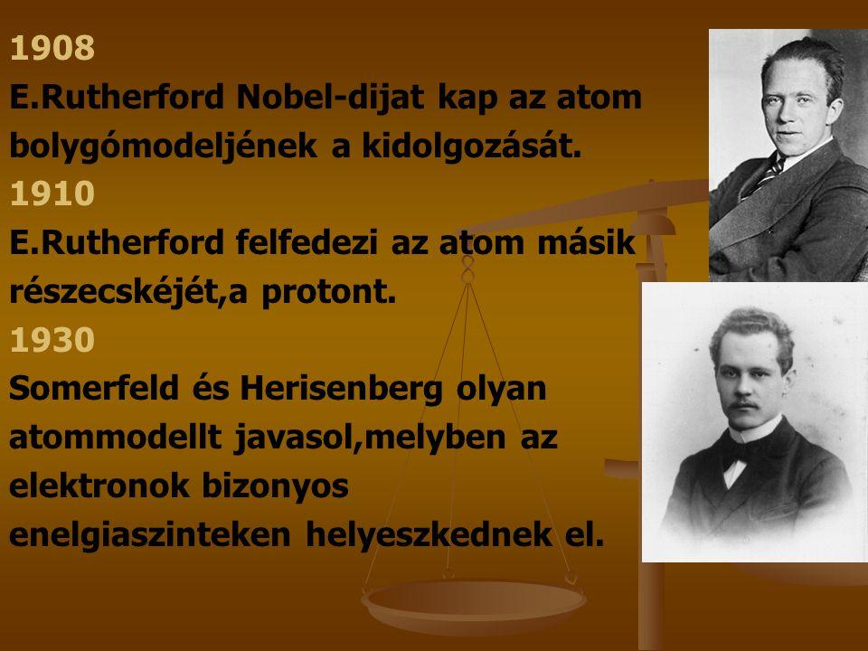 1932 J.Chadwich az atommag újabb részecskéjet azonosítja,a neutront.