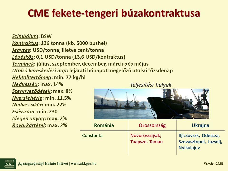 CME fekete-tengeri búzakontraktusa Forrás: Európai Bizottság Forrás: CME Szimbólum: BSW Kontraktus: 136 tonna (kb.