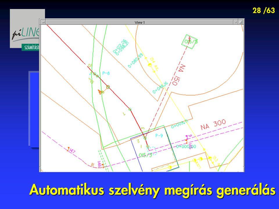 28 /63 Automatikus szelvény megírás generálás