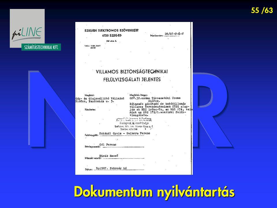 55 /63 Dokumentum nyilvántartás