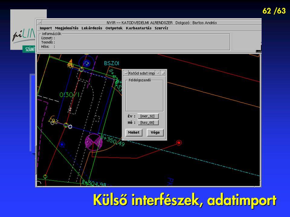 62 /63 Külső interfészek, adatimport