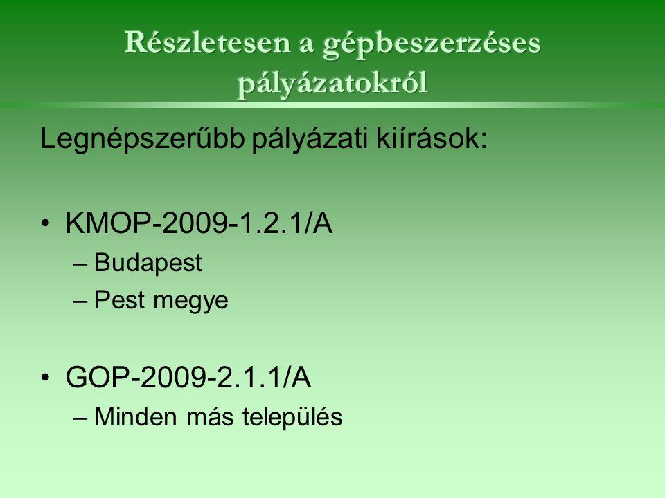 Legnépszerűbb pályázati kiírások: KMOP-2009-1.2.1/A –Budapest –Pest megye GOP-2009-2.1.1/A –Minden más település