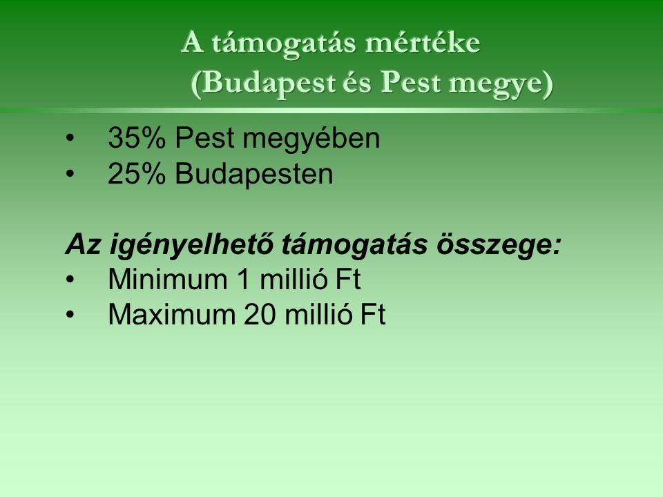 35% Pest megyében 25% Budapesten Az igényelhető támogatás összege: Minimum 1 millió Ft Maximum 20 millió Ft