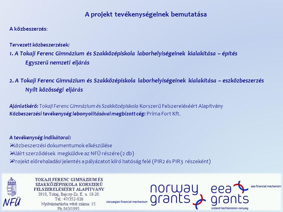 A projekt tevékenységeinek bemutatása A közbeszerzés: Tervezett közbeszerzések: 1.