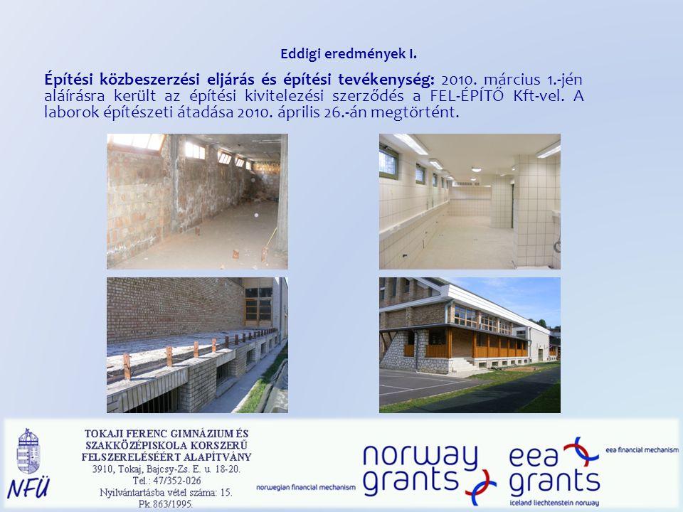 Eddigi eredmények I. Építési közbeszerzési eljárás és építési tevékenység: 2010.