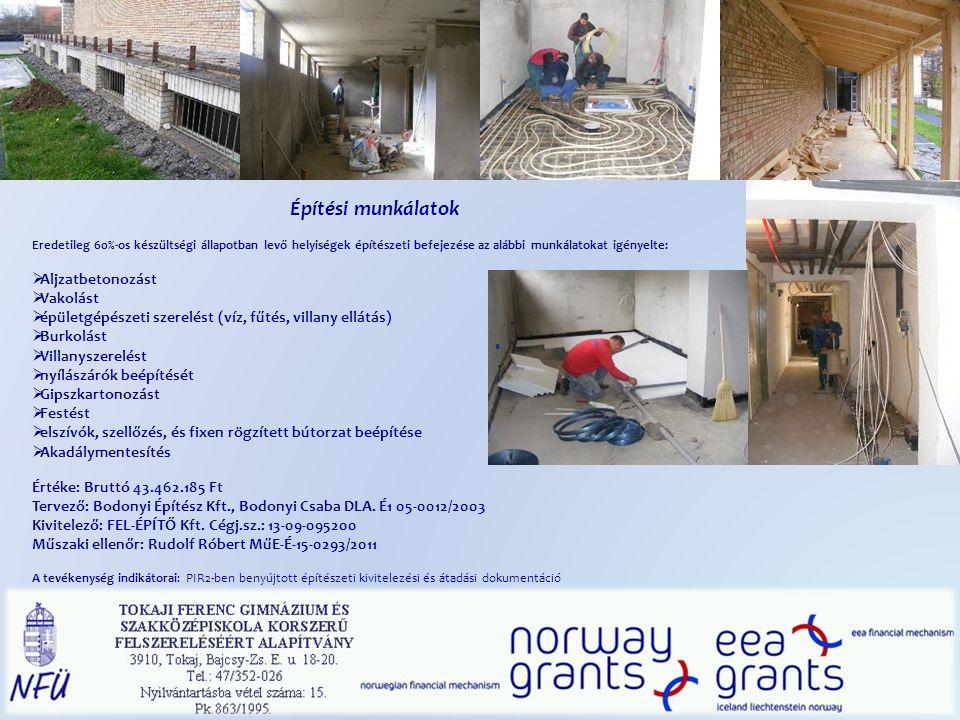 Építési munkálatok Eredetileg 60%-os készültségi állapotban levő helyiségek építészeti befejezése az alábbi munkálatokat igényelte:  Aljzatbetonozást  Vakolást  épületgépészeti szerelést (víz, fűtés, villany ellátás)  Burkolást  Villanyszerelést  nyílászárók beépítését  Gipszkartonozást  Festést  elszívók, szellőzés, és fixen rögzített bútorzat beépítése  Akadálymentesítés Értéke: Bruttó 43.462.185 Ft Tervező: Bodonyi Építész Kft., Bodonyi Csaba DLA.