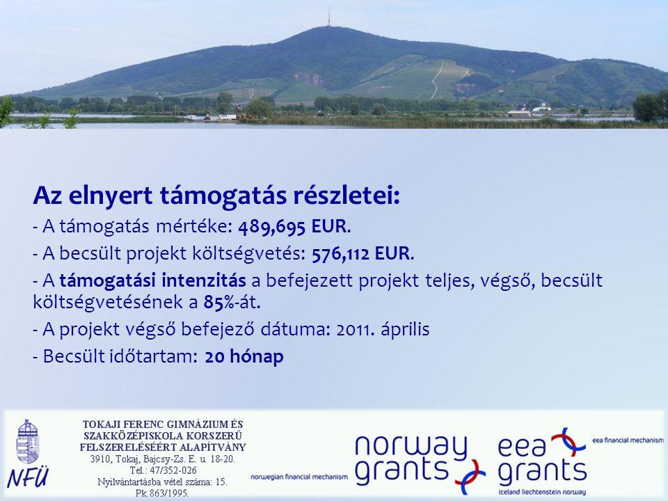 Az elnyert támogatás részletei: - A támogatás mértéke: 489,695 EUR.