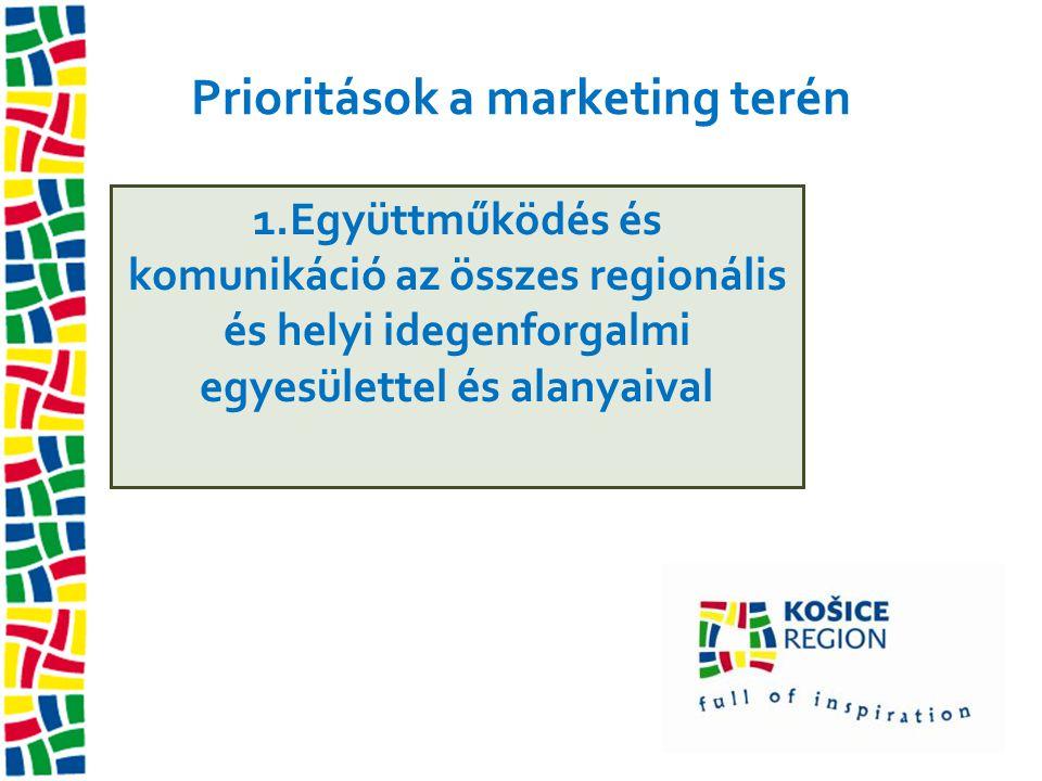 Prioritások a marketing terén 1.Együttműködés és komunikáció az összes regionális és helyi idegenforgalmi egyesülettel és alanyaival
