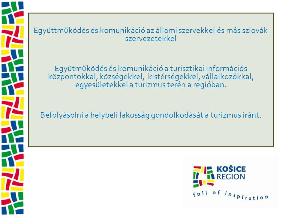 Együttműködés és komunikáció az állami szervekkel és más szlovák szervezetekkel Együtműködés és komunikáció a turisztikai információs központokkal, községekkel, kistérségekkel, vállalkozókkal, egyesületekkel a turizmus terén a regióban.