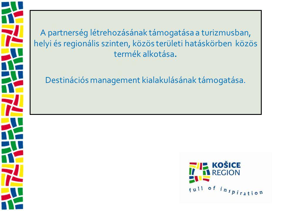 A partnerség létrehozásának támogatása a turizmusban, helyi és regionális szinten, közös területi hatáskörben közös termék alkotása. Destinációs manag