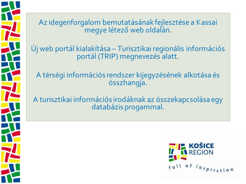 Az idegenforgalom bemutatásának fejlesztése a Kassai megye létező web oldalán. Új web portál kialakítása – Turisztikai regionális információs portál (