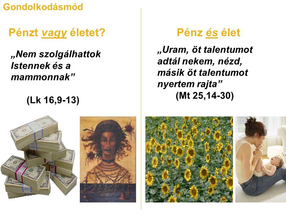 """Gondolkodásmód Pénzt vagy életet Pénz és élet """"Nem szolgálhattok Istennek és a mammonnak (Lk 16,9-13) """"Uram, öt talentumot adtál nekem, nézd, másik öt talentumot nyertem rajta (Mt 25,14-30)"""