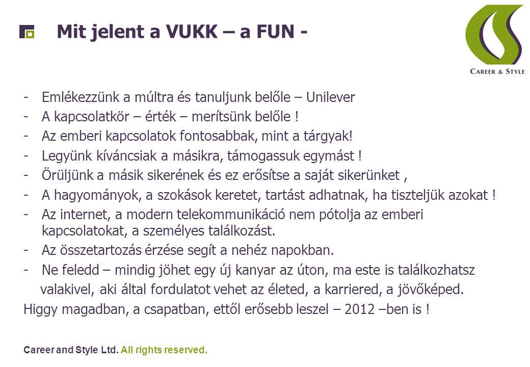 Career and Style Ltd. All rights reserved. Mit jelent a VUKK – a FUN - -Emlékezzünk a múltra és tanuljunk belőle – Unilever -A kapcsolatkör – érték –