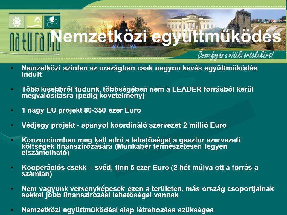Nemzetközi szinten az országban csak nagyon kevés együttműködés indult Több kisebbről tudunk, többségében nem a LEADER forrásból kerül megvalósításra (pedig követelmény) 1 nagy EU projekt 80-350 ezer Euro Védjegy projekt - spanyol koordináló szervezet 2 millió Euro Konzorciumban meg kell adni a lehetőséget a gesztor szervezeti költségek finanszírozására (Munkabér természetesen legyen elszámolható) Kooperációs csekk – svéd, finn 5 ezer Euro (2 hét múlva ott a forrás a számlán) Nem vagyunk versenyképesek ezen a területen, más ország csoportjainak sokkal jobb finanszírozási lehetőségei vannak Nemzetközi együttműködési alap létrehozása szükséges Nemzetközi együttműködés