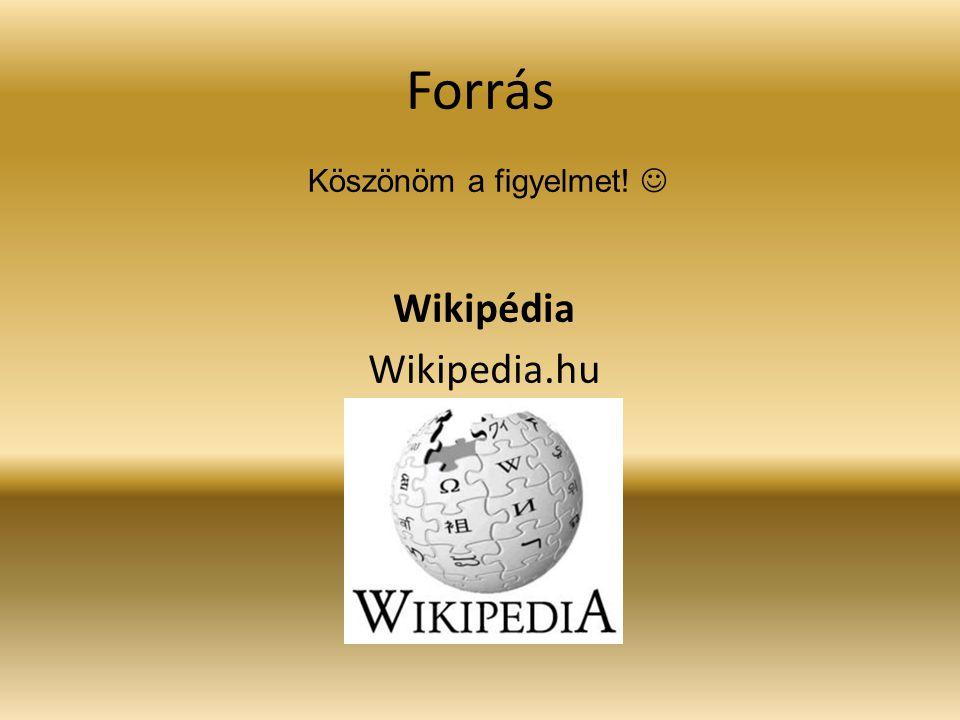 Forrás Wikipédia Wikipedia.hu Köszönöm a figyelmet!